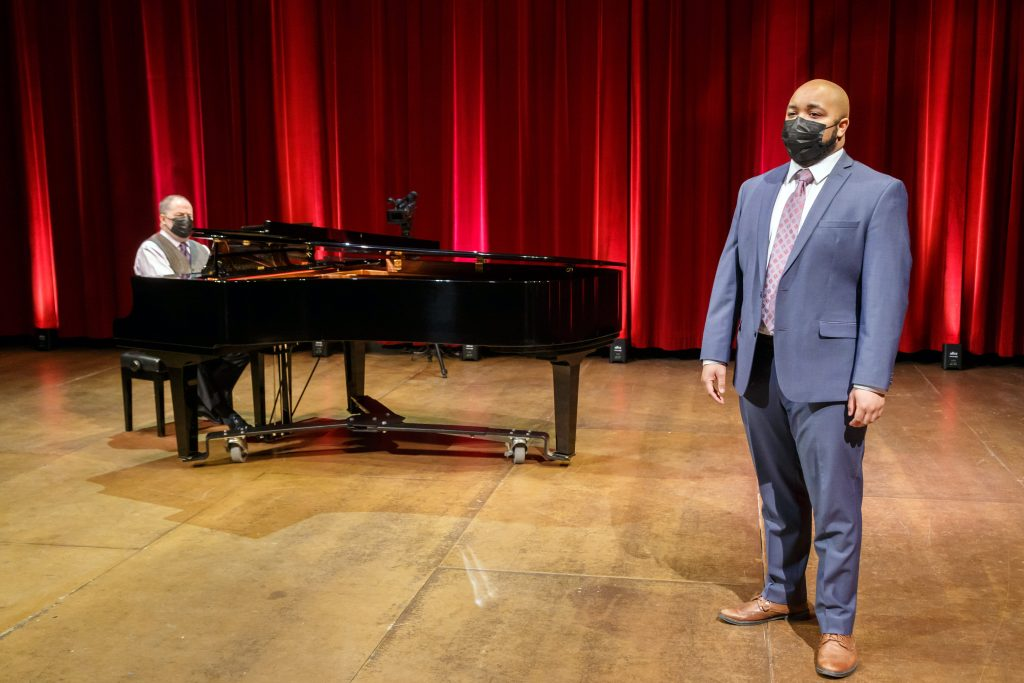 "Pittsburgh Opera's Head of Music Glenn Lewis (l.) and resident artist Yazid Gray perform the music of William Grant Still and Florence Price in ""I, Too, Am America."" (photo: David Bachman Photography)."