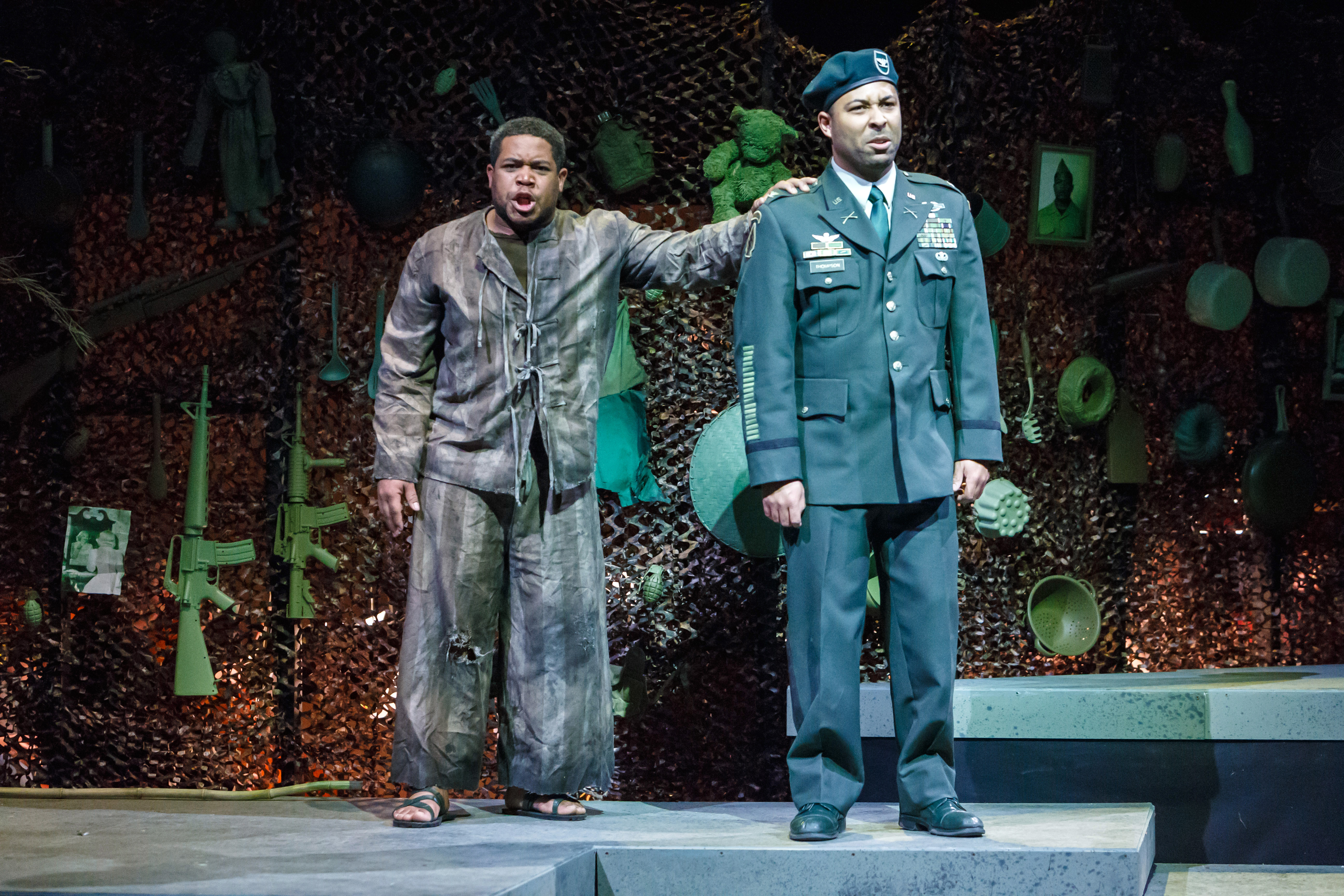 They're both Col. Jim Thompson, but in 'Glory Denied' at Pittsburgh Opera, the specter of the younger Thompson—a POW for nine years—haunts the decorated postwar vet. Singers are tenor Terrence Chin-Loy (L) and baritone Benjamin Taylor. (photo: David Bachman Photography)