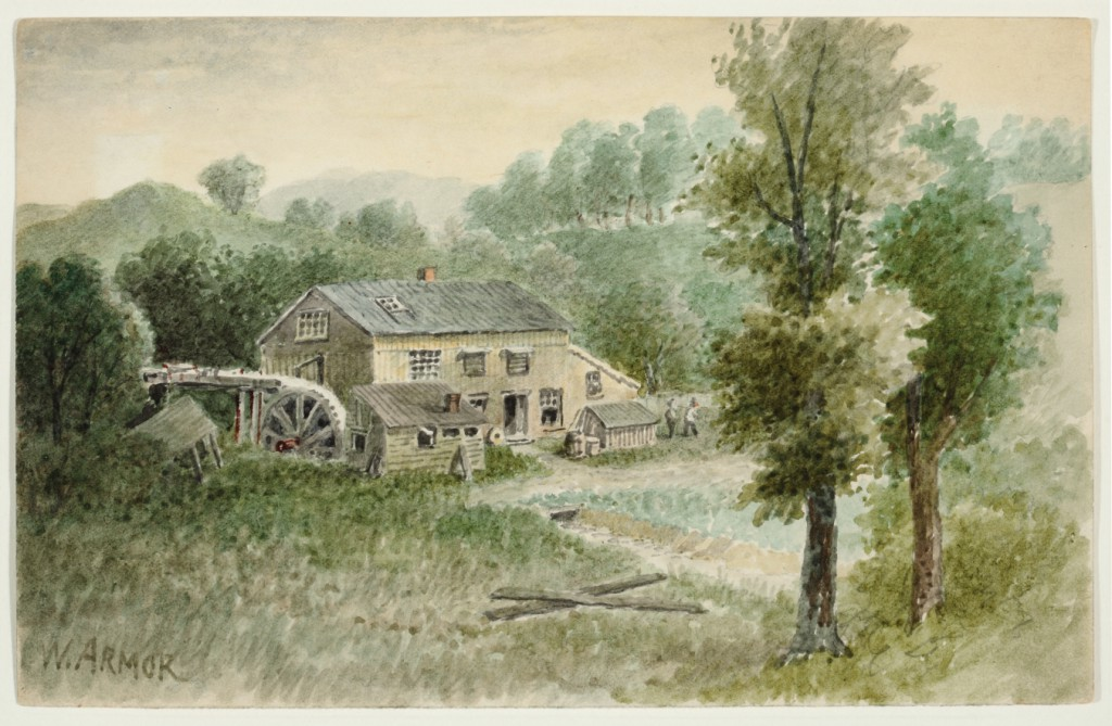 """The Mill at Millvale on the PRR"" by William Gillespie Armor (American, 1834–1924). Watercolor, from the collection of Sheryl and Bruce Wolf."