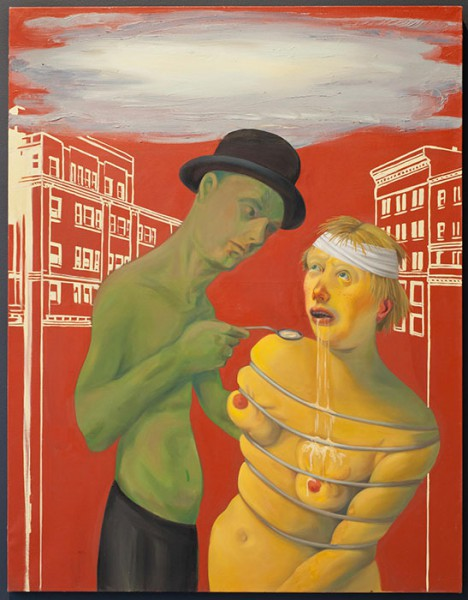 """Q: What's going on? A: This is """"Commerce Feeds Creativity,"""" by Nicole Eisenman."""