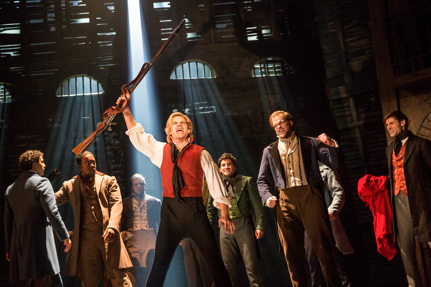 Red and black! sings Enjorlas (Matt Shingledecker) in the new touring production of 'Les Miz.' (photo: Joan Marcus)