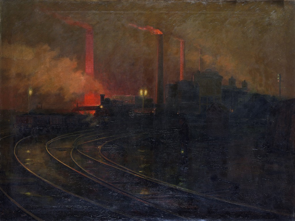 "Lionel Walden's ""Steelworks, Cardiff, at Night"" (1895-97). Oil on canvas, 59 3/8 x 78 x 7/8 in. National Museum Wales (NMW A 2245). Courtesy American Federation of Arts."