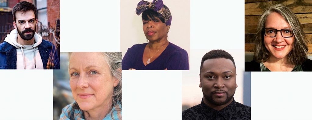The playwrights for 'Homegrown Stories 2) are, L to R: Patrick Cannon, Gab Cody, Kim El, Monteze Freeland, and Molly Rice. (photos courtesy of the artists and City of Asylum)