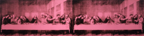Andy's doubled-in-pink 'Last Supper' looks tiny here but spans a wide wall in the gallery.