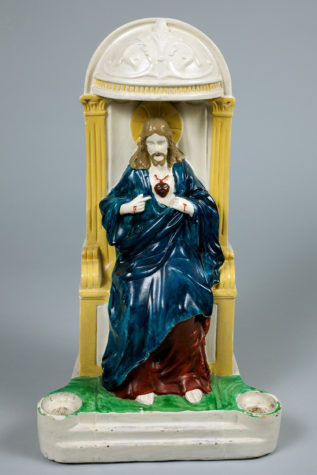 An early devotional work: Andy was between 10 and 13 years old when he painted this store-bought white plaster statue.