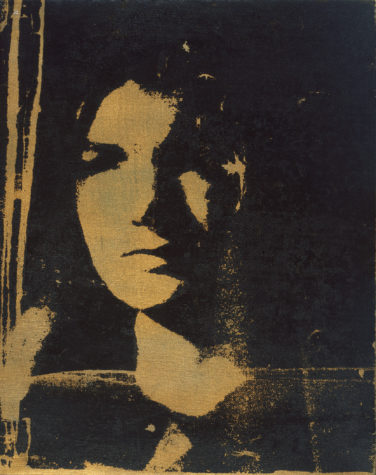 JFK's widow becomes an icon of mourning. This 1964 'Jackie' is one of a series in the exhibition.