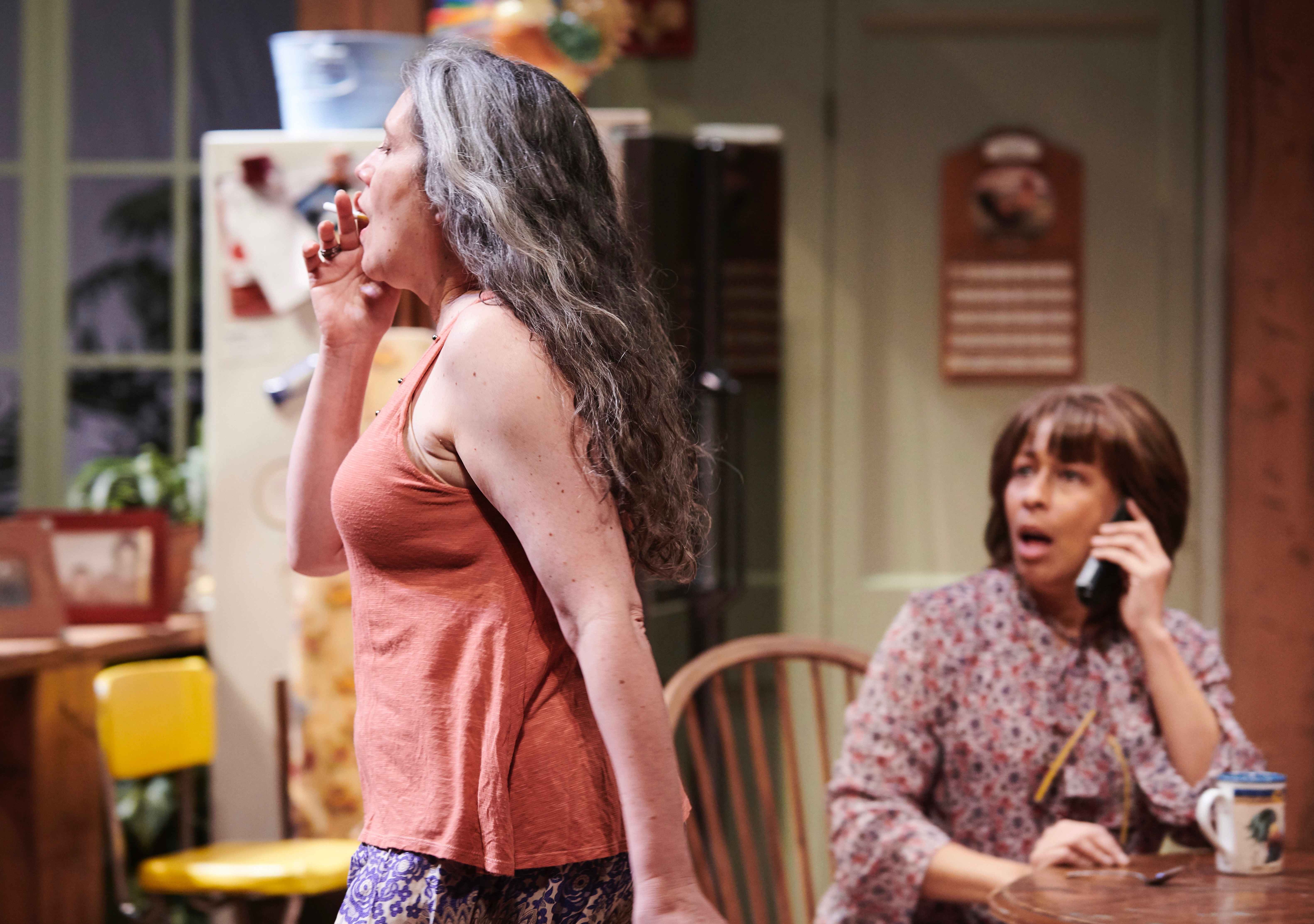 Laurie Klatscher (L) is smokin' in 'The Roommate' at City Theatre, while Tamara Tunie observes. (photo: Kristi Jan Hoover)