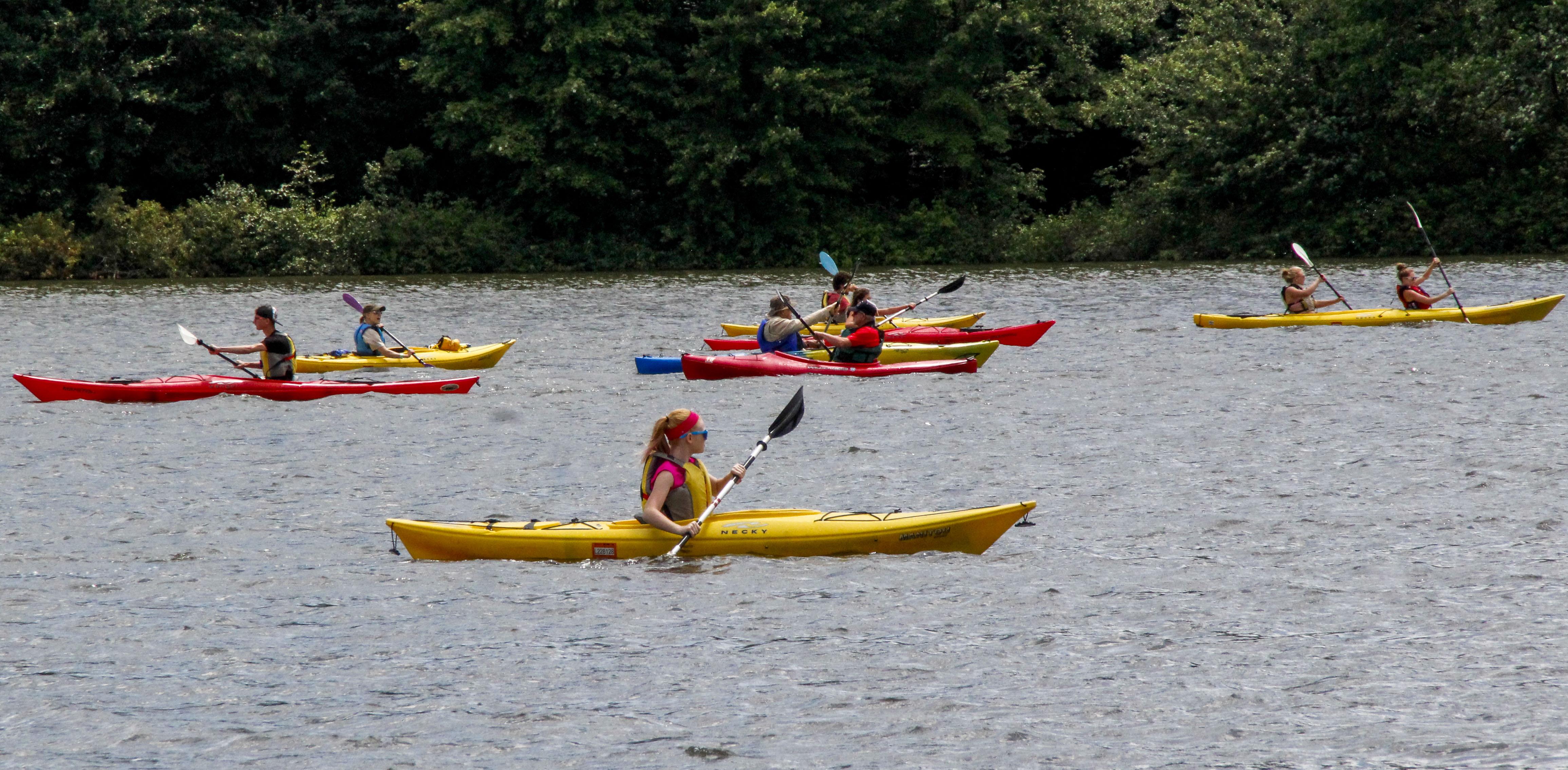 Kayakers enjoying the Regatta at Lake Arthur.