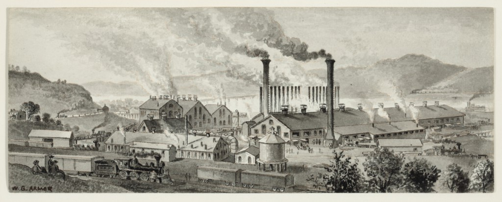 "William Gillespie Armor, ""View at Braddock's Field at the Edgar Thomson Steel Works"" (c. 1876). Pen and ink with grey wash, 3 3/8 x 9 in. Collection of Sheryl and Bruce Wolf."