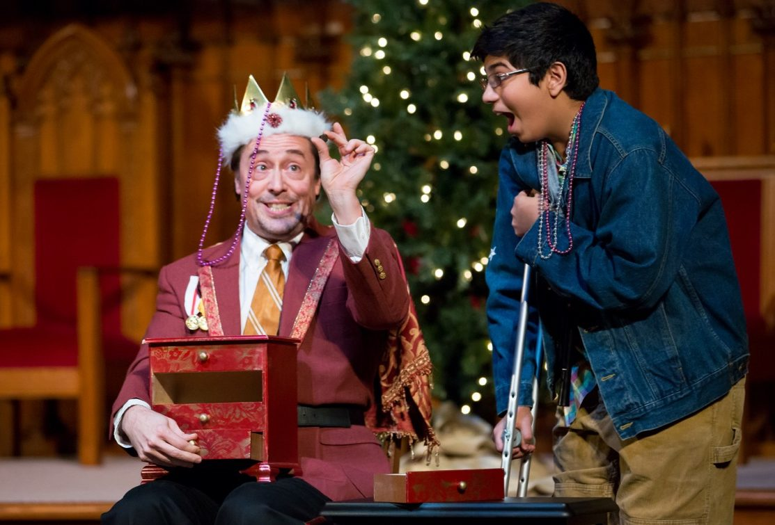 The Resonance Works production of 'Amahl and the Night Visitors' brings out the humor and high spirits in Menotti's opera. In this scene from a prior year's performance, Kaspar—one of the three kings—shows Amahl the licorice drops he's bearing as a gift from afar. (photo courtesy of Resonance Works)