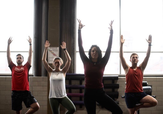 The monthly 'Big Free Yoga' class at Ascend Pittsburgh can be bundled with a $10 rate for indoor climbing. (photo: Lindsay Dill)
