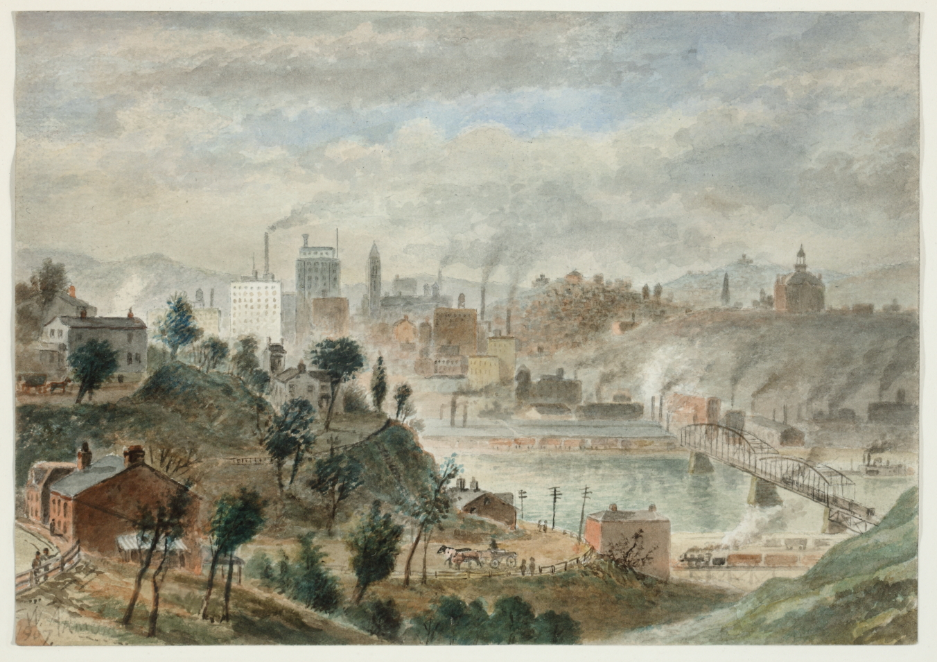 "Pittsburgh's prosperous skyline in William Gillespie Armor's ""Pittsburgh from Mount Washington"" (1907). Watercolor, collection of Sheryl and Bruce Wolf."