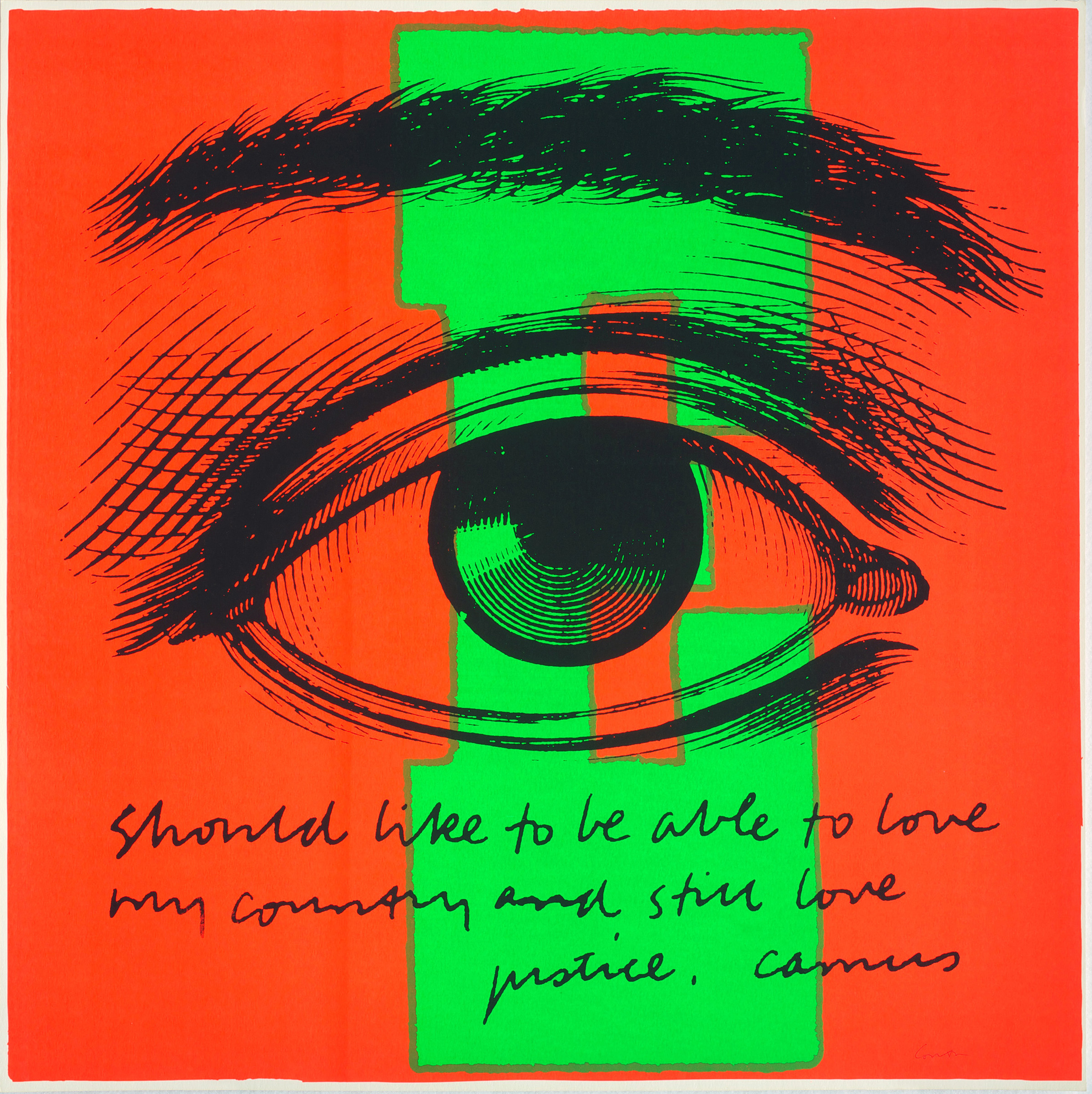"Here's lookin' at you, kid: Corita Kent's ""E eye love"" is part of a major exhibit at The Warhol. (Image courtesy of Corita Art Center, Los Angeles.)"