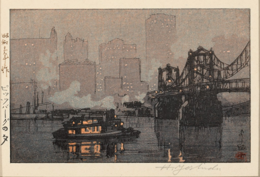 """Night Rain at Pittsburgh"" (1928), a color woodcut by Yoshida Hiroshi (Japanese, 1876–1950). Collection of Sheryl and Bruce Wolf."