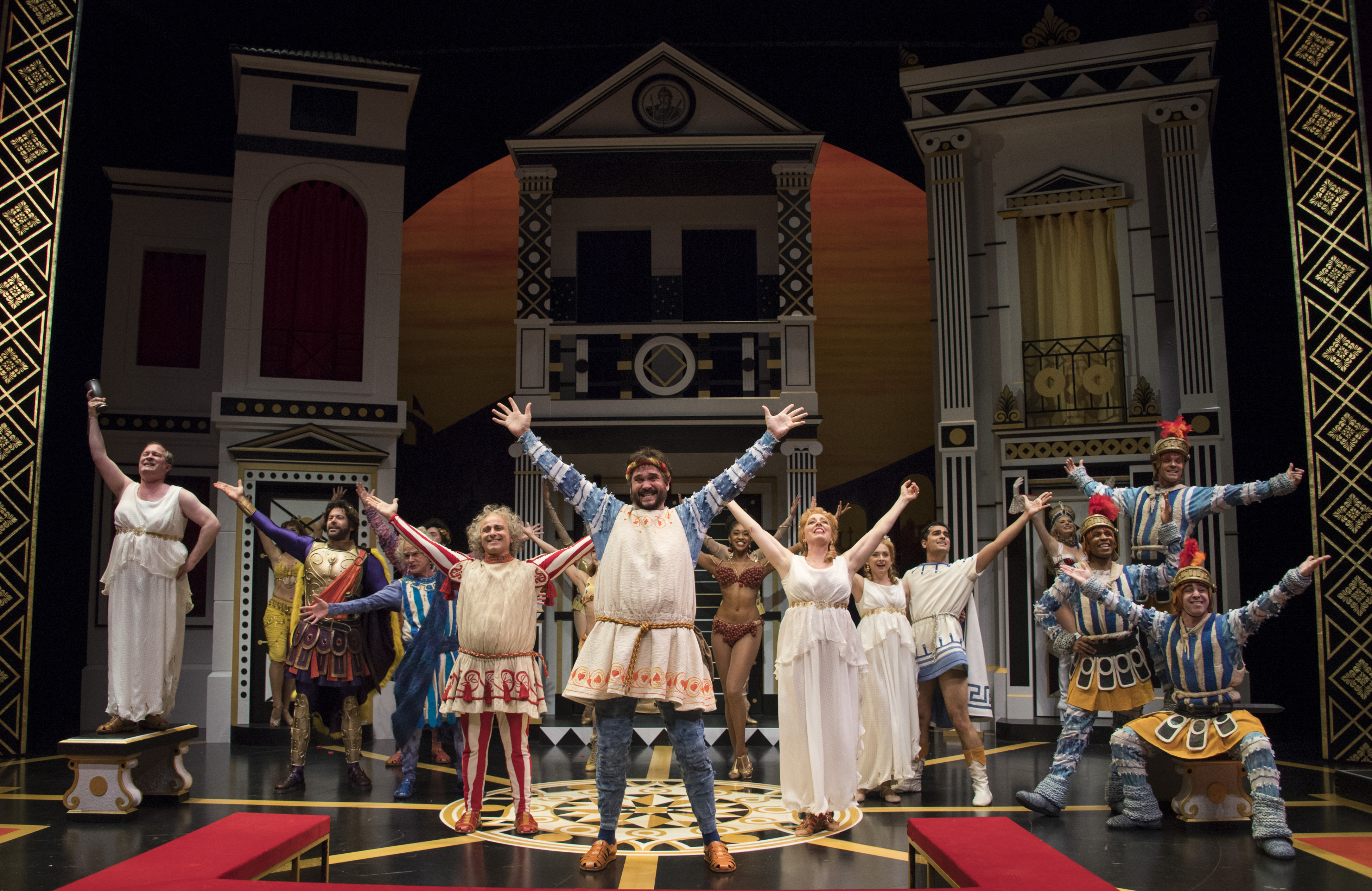Cast photo for 'A Funny Thing Happened on the Way to the Forum' at Pittsburgh Public Theater. Direction and choreography is by longtime artistic director Ted Pappas. Photo: Michael Henninger.