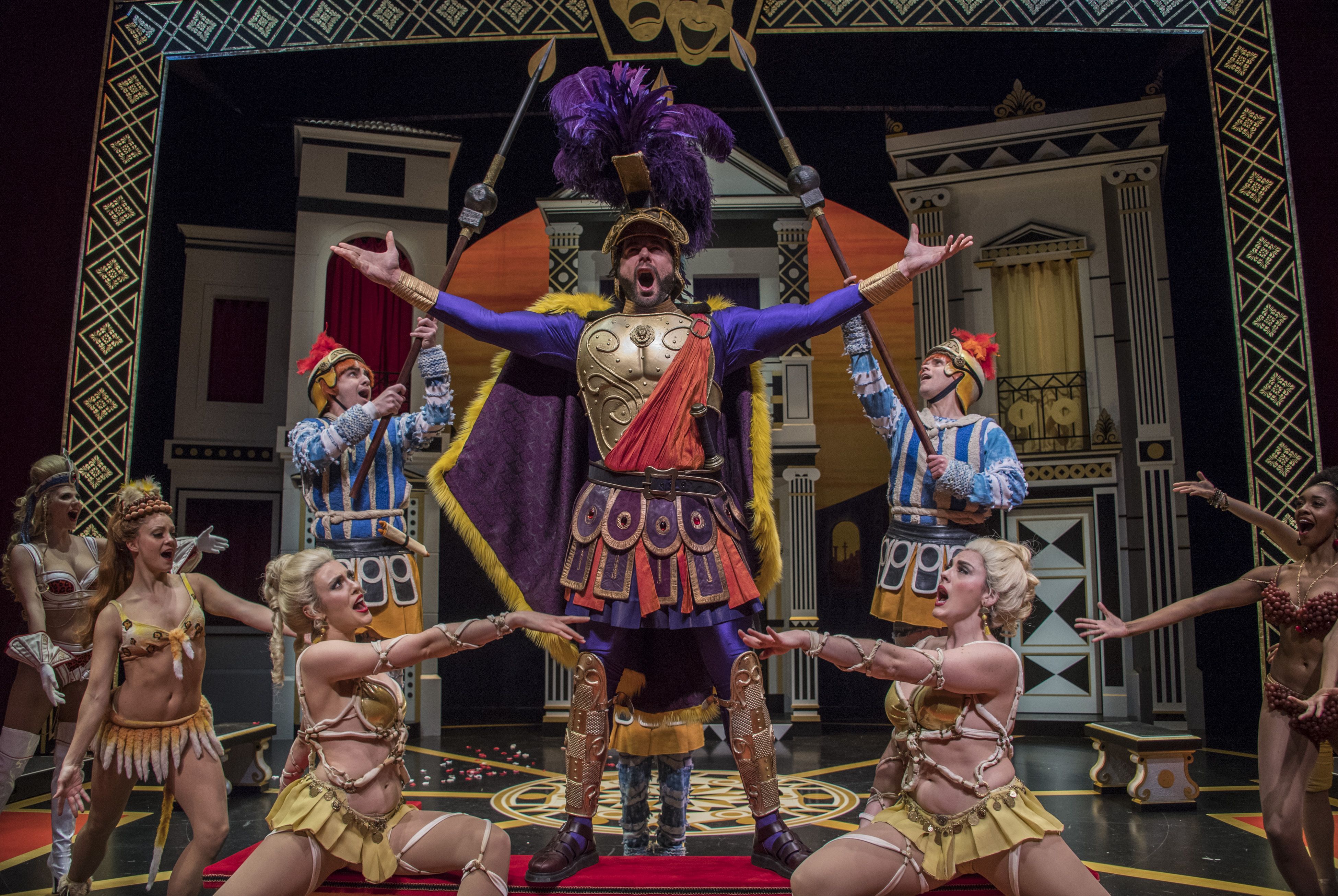 A funny scene from the musical 'A Funny Thing Happened on the Way to the Forum' directed and choreographed by Pittsburgh Public Theater's Artistic Director Ted Pappas. The singing warrior, Miles Gloriosus, is Allan Snyder. Photo: Michael Henninger.