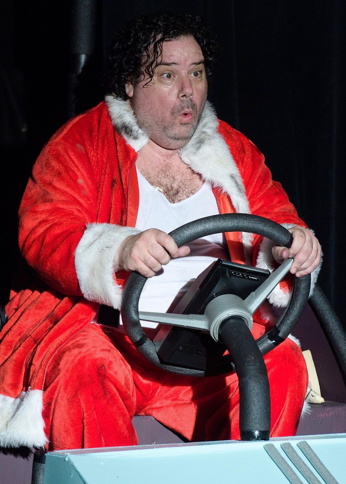 Samuel Byck (Rob James), dressed in the Santa suit he once wore to protest outside the White House, heads farther off the rails.