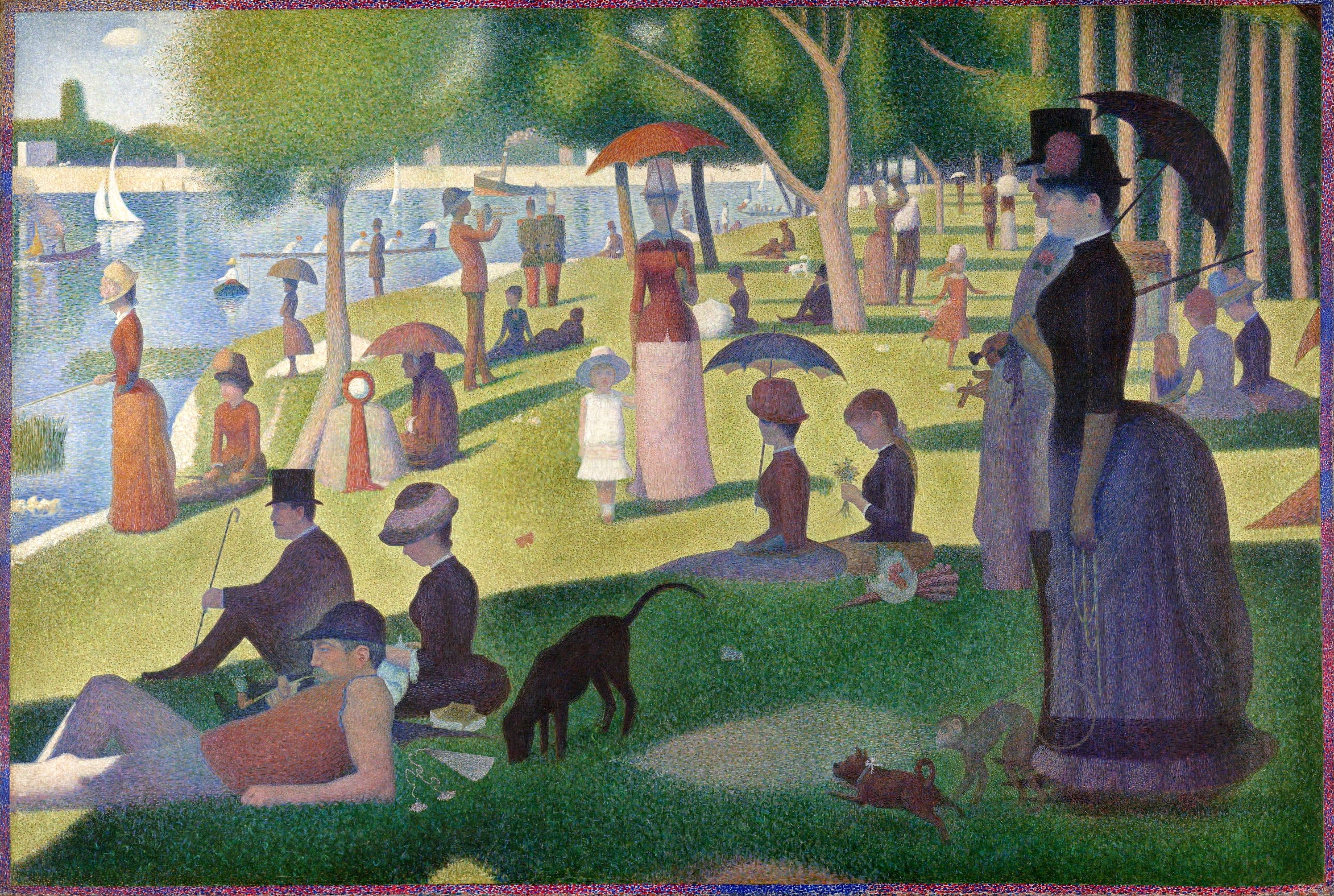 Do you see a Broadway musical in this picture? Georges Seurat's 1884 painting 'A Sunday on La Grande Jatte' was the inspiration for Stephen Sondheim and James Lapine's 'Sunday in the Park with George,' on stage at Pittsburgh Playhouse. (image: Art Institute of Chicago)