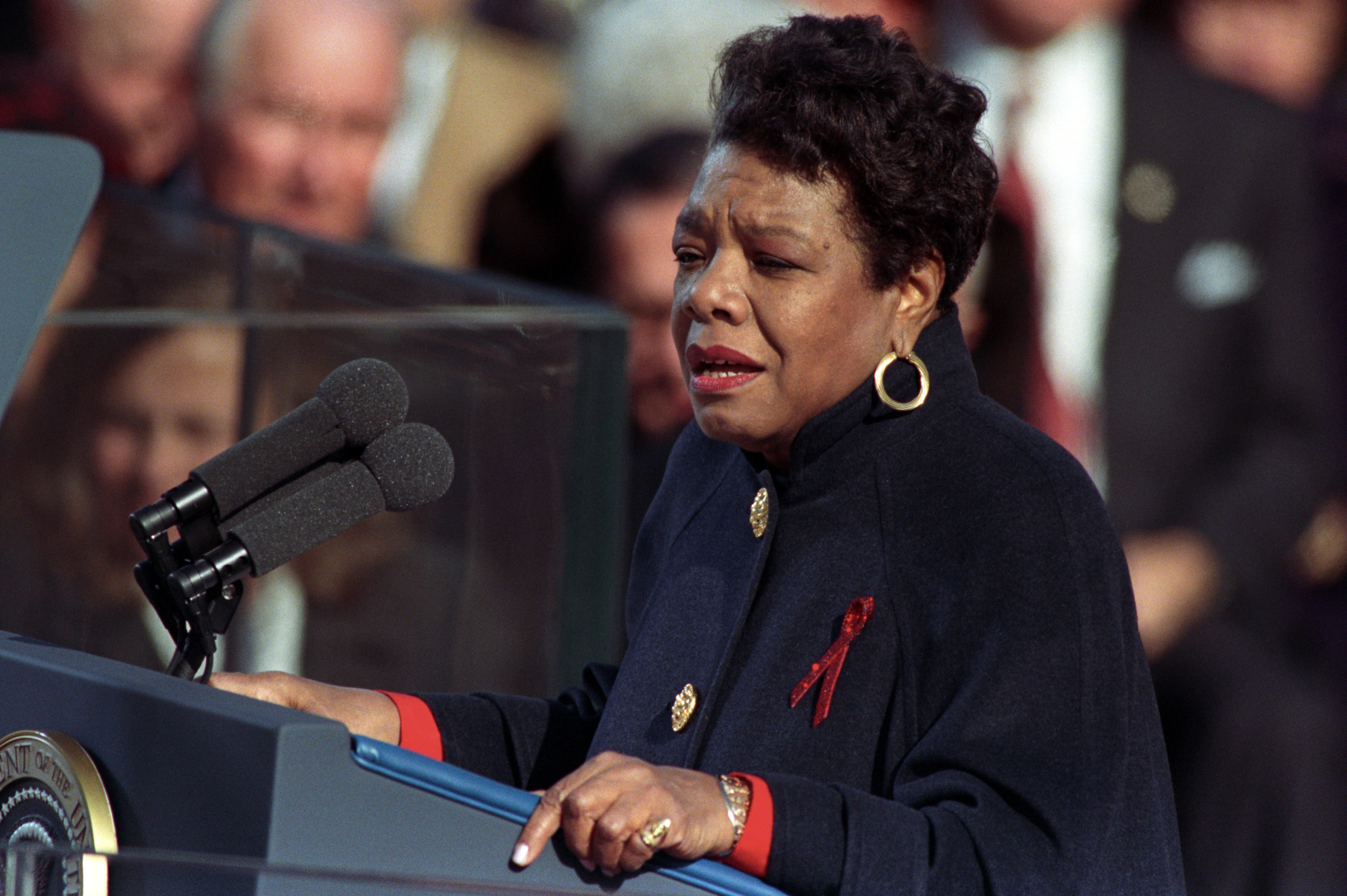 Maya Angelou, shown here at Bill Clinton's 1992 inauguration, was a titanic figure in American culture.