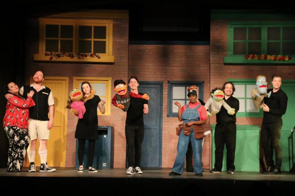 The puppets and actors in Pittsburgh Musical Theatre's musical satire, 'Avenue Q,,' have a lot to say. Some of it is 'adult talk.' photo: Melissa Wallace.