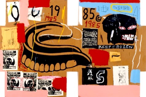 """If the teeth fit, wear them. Or perhaps fear them. Basquiat and Warhol did """"Dentures/Keep Frozen"""" on cardboard. The fierce toothy head on the right is a signature Basquiat touch. (Image © The Andy Warhol Foundation for the Visual Arts, Inc. © The Estate of Jean-Michel Basquiat)"""