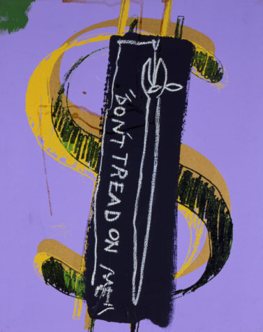 """All the serpentine symbolism you need. Basquiat's snake appears to be eating its own tail, which would reference the mythical Ouroboros. And Warhol's fine sense of color helps """"Dollar Sign, Don't Tread on Me"""" sing. (Image , © The Andy Warhol Foundation for the Visual Arts, Inc. © The Estate of Jean-Michel Basquiat)"""