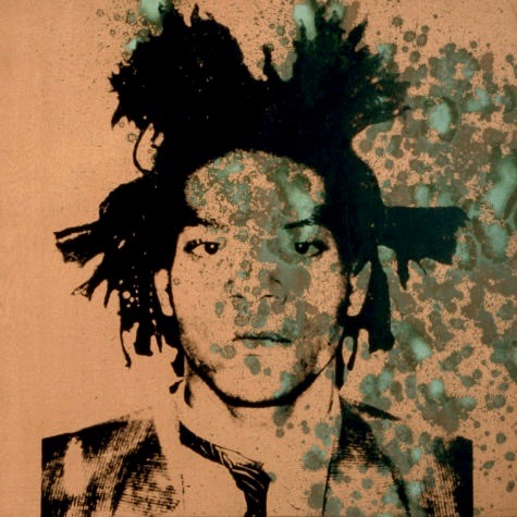 Looking at you, kid: Jean-Michel Basquiat, in a portrait by Andy Warhol, circa 1982. (Image © The Andy Warhol Foundation for the Visual Arts)