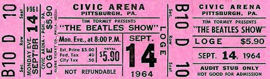 Beatles' Concert Ticket