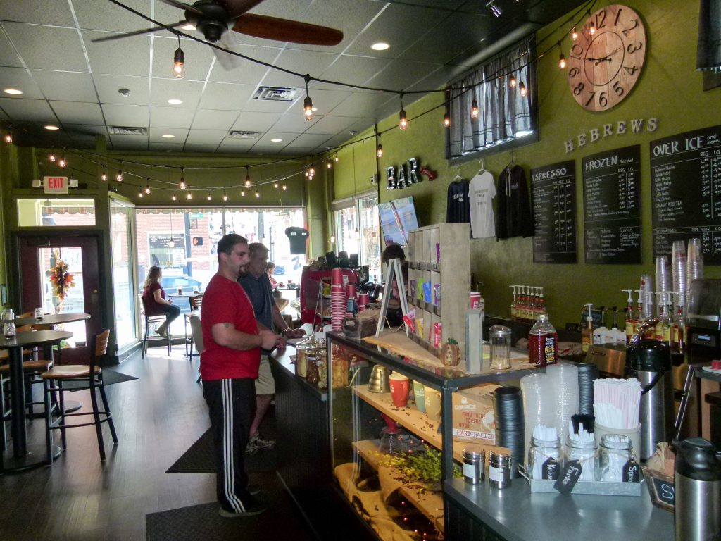 HeBrews Coffee Company offers an interesting selection of coffee and tea drinks along with cookies, bagels, and pastries.