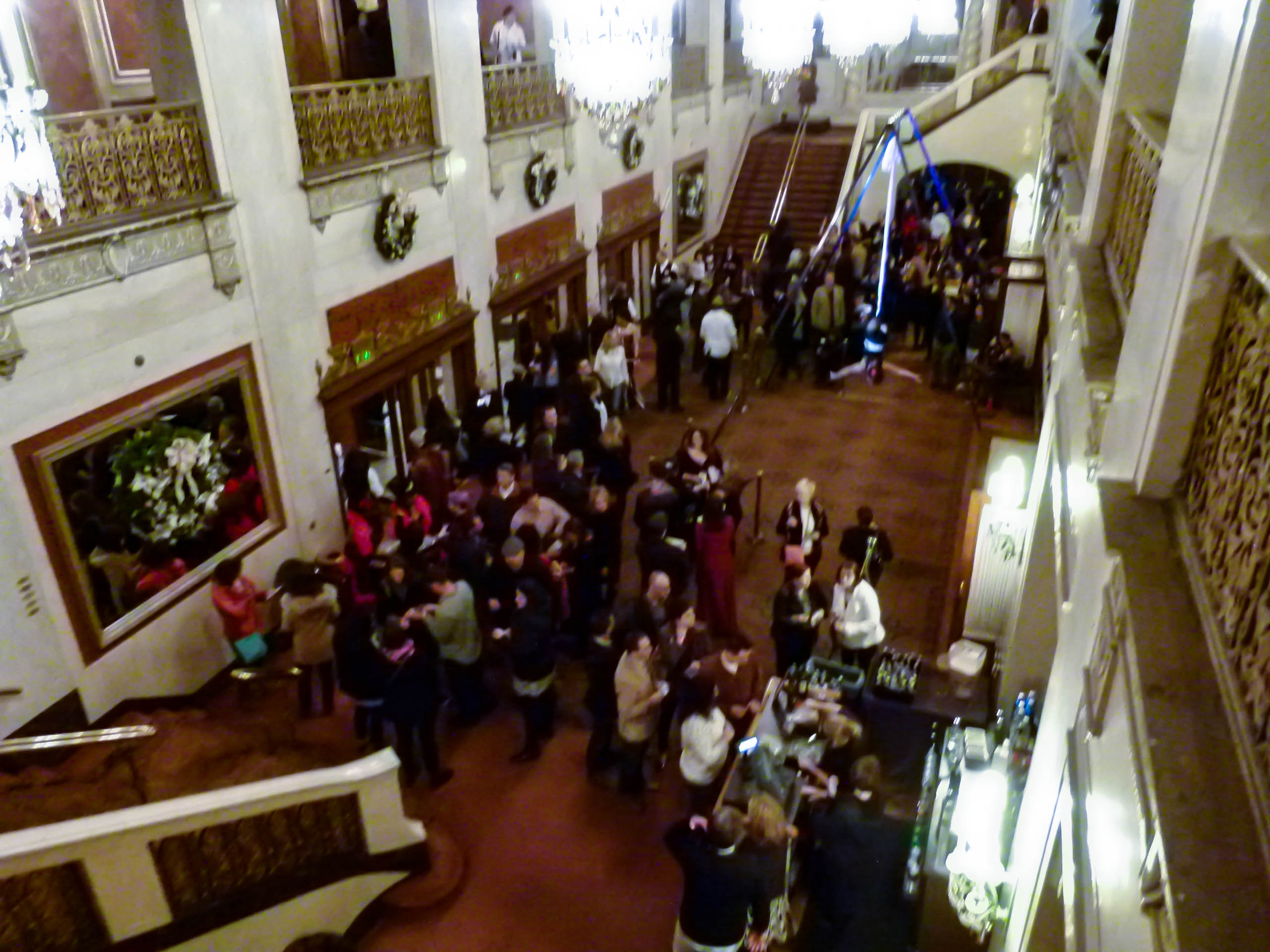Attendees enjoying The Chocoalate Bar event in the gorgeous lobby of the Bennedum.
