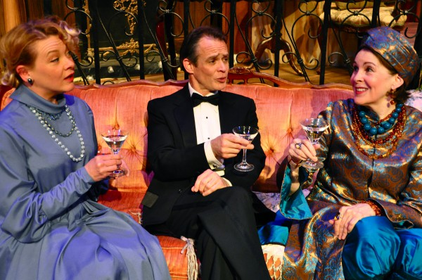 Whereas the London revival of 'Blithe Spirit' has Angela Lansbury as Madame Arcati, here Mary Rawson (in the turban) plays theater's happiest medium with more than ample gusto. The skeptical guests are Mrs. Bradman and her hubby (Lissa Brennan and James FitzGerald).