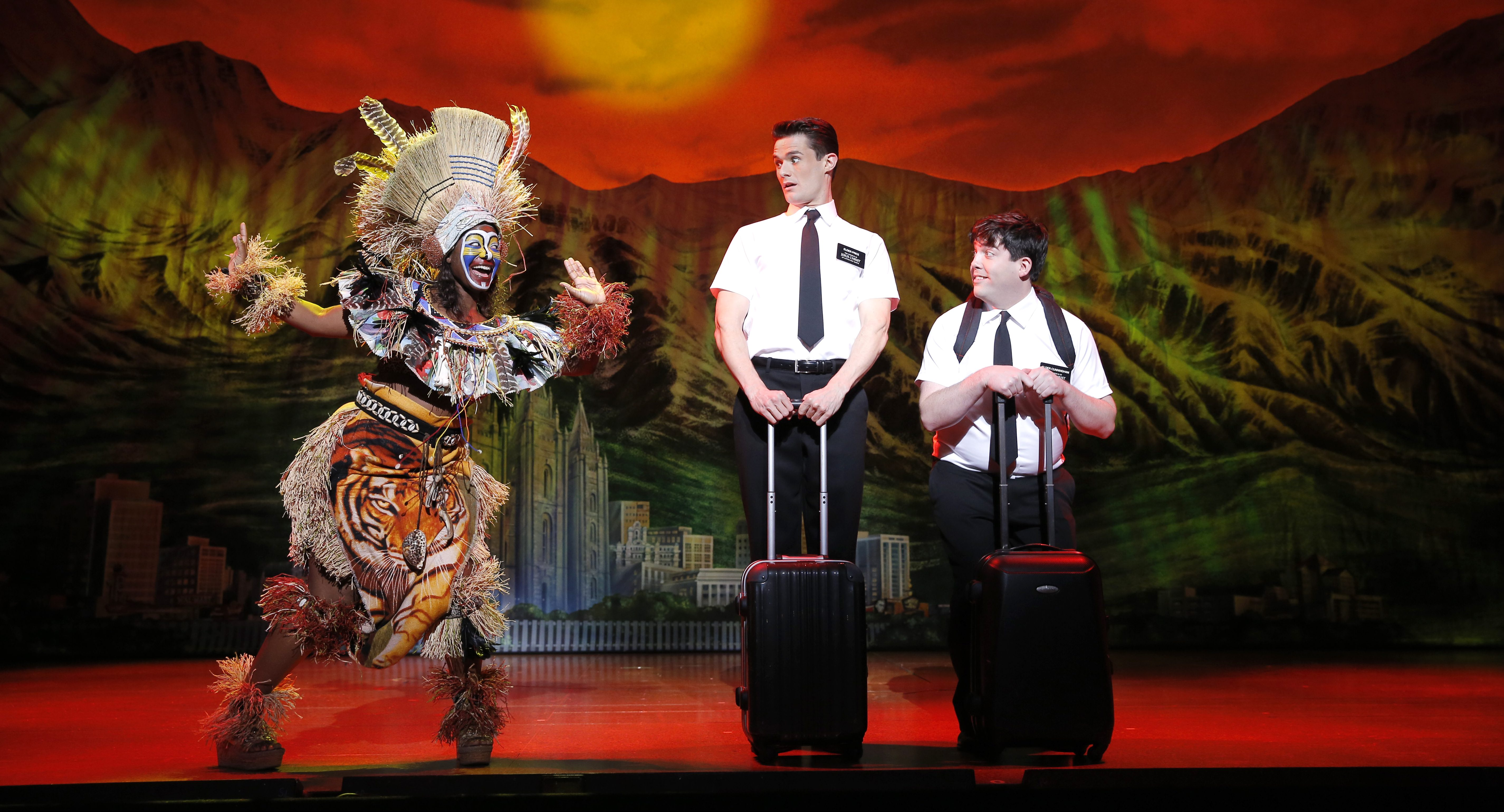 In 'The Book of Mormon,' missionaries Kevin and Arnold have a feeling they're not in Utah any more. (The photo is from the 2013 touring production.)