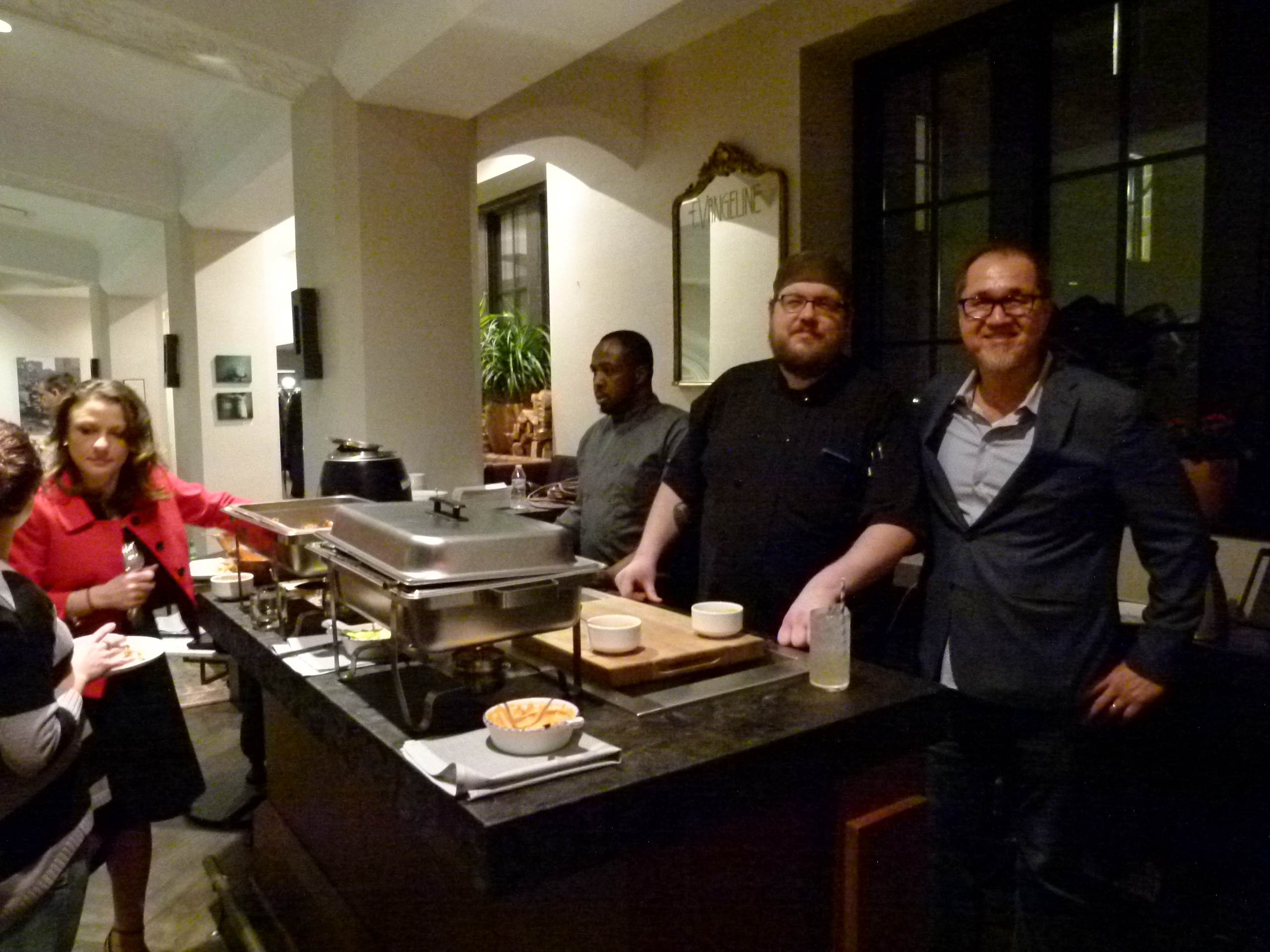 Pictured (r. to l.) Bill Shanon, GM of or, The Whale; Eli Decko, Executive Chef; and Richard Smith, line cook, work the buffet line to keep guests well fed.