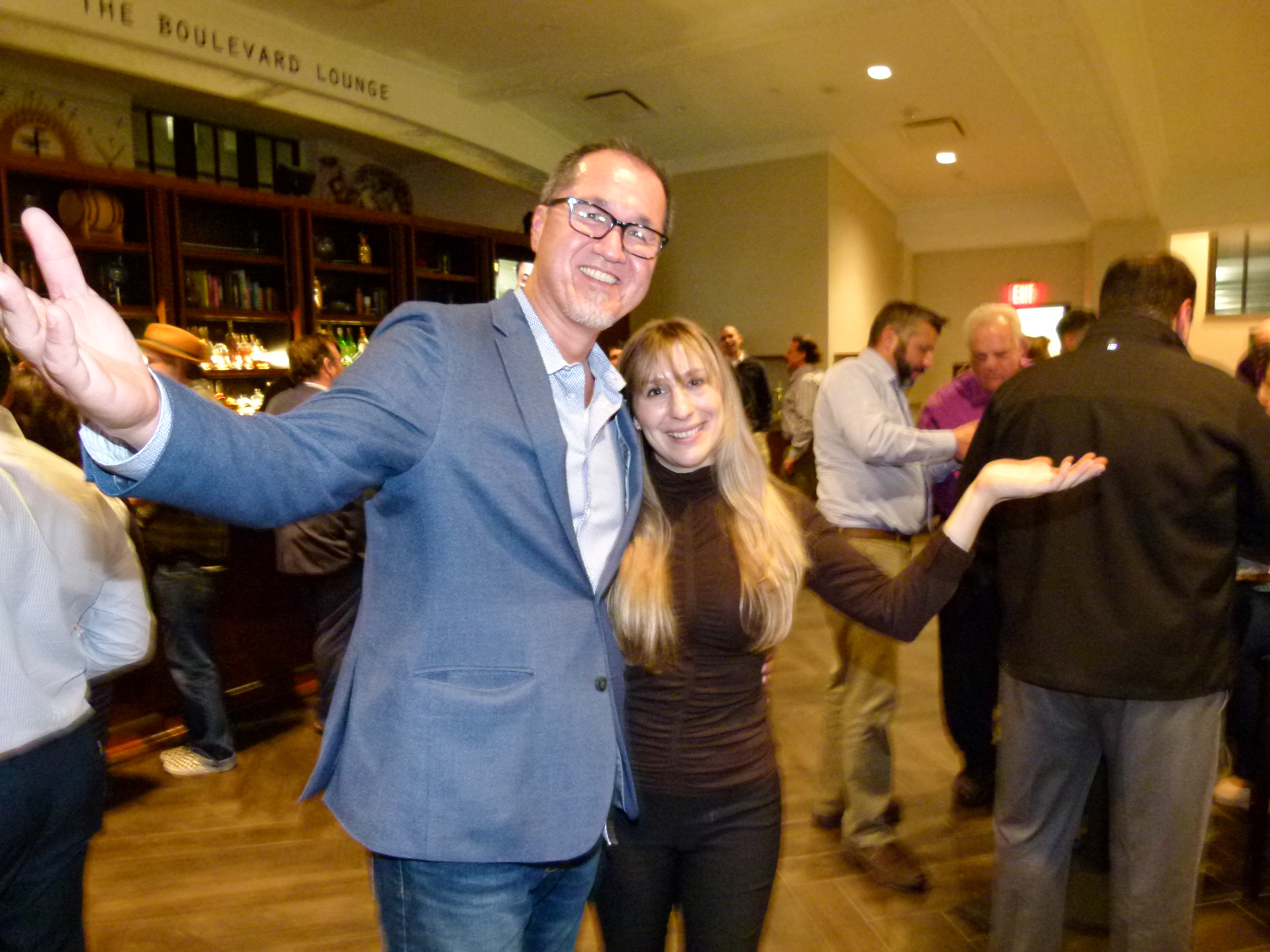 Bill Shannon (GM of or, The Whale and Boulevard Lounge) and Rachel Borovik (Events Coordinator) welcome guests with open arms.