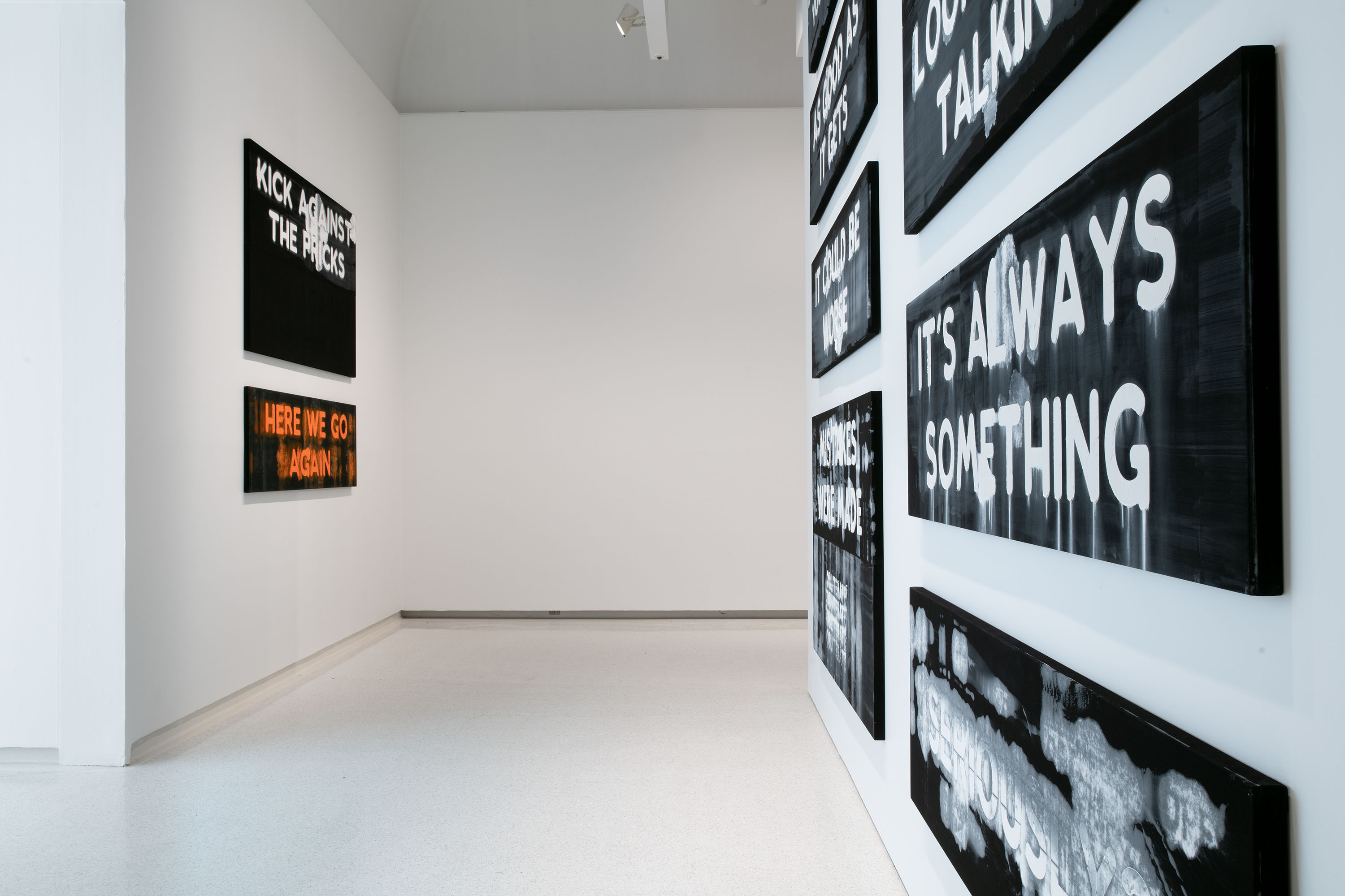 Tom Wolfe's 1975 book 'The Painted Word' criticized modern art for being too theory-driven. Artist Mel Bochner responds with painted sentences. Just out of view: 'LOOK WHO'S TALKING.' (photo by Brian Conley, courtesy of the artist and Peter Freeman Inc.)