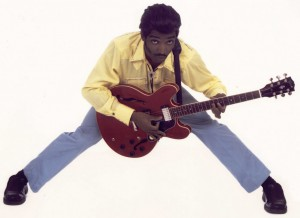 Chuck Berry's moves are all part of David Callender's musical act.
