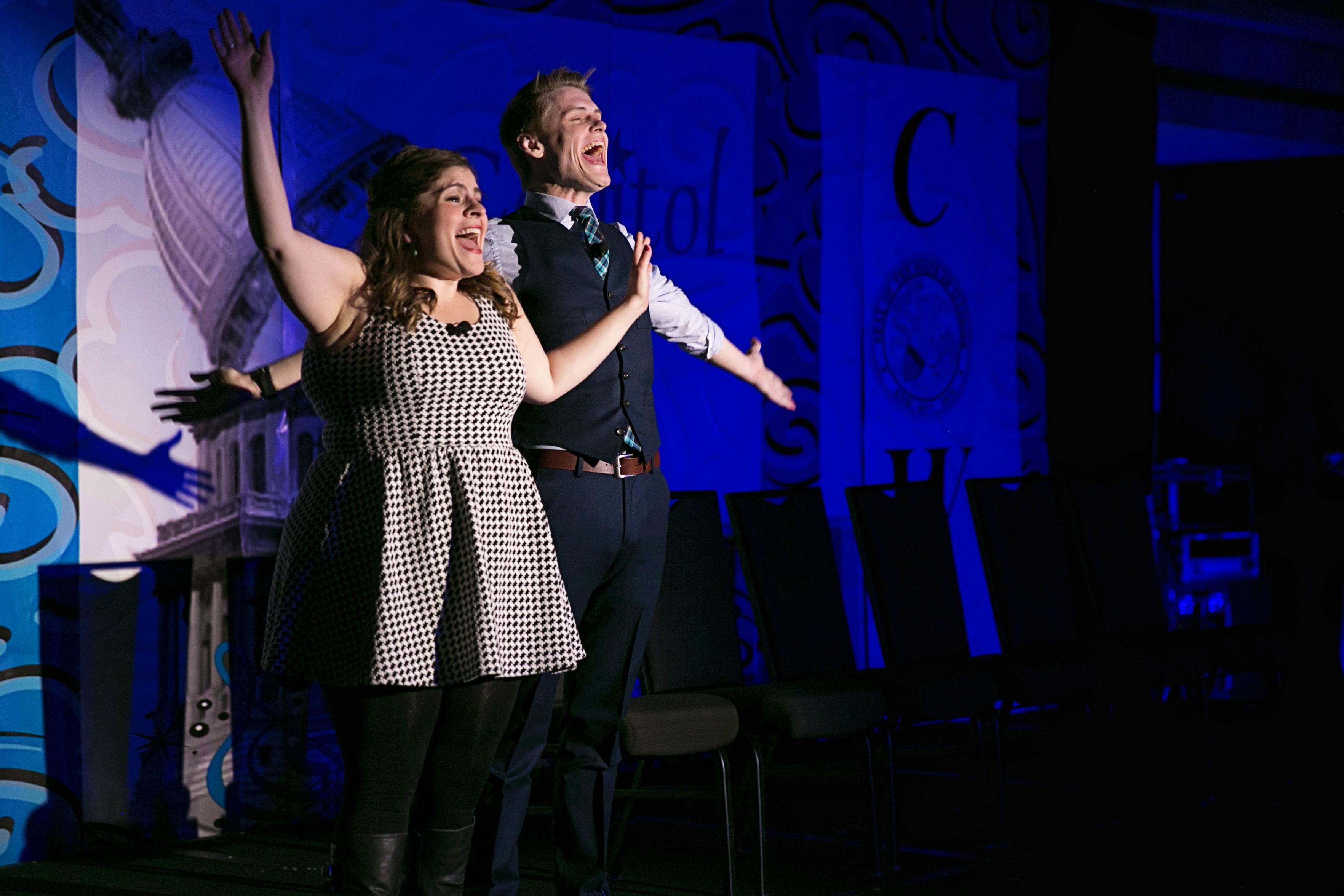 Second City cast members Jo Feldman and Adam Schreck performing a skit. Photo: Jason Johnson