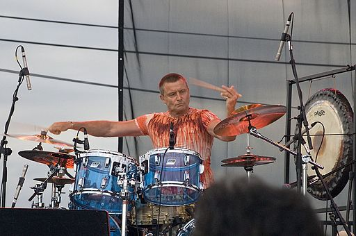 Carl Palmer in action on his drum kit. photo: jomelia. Wikipedia Commons