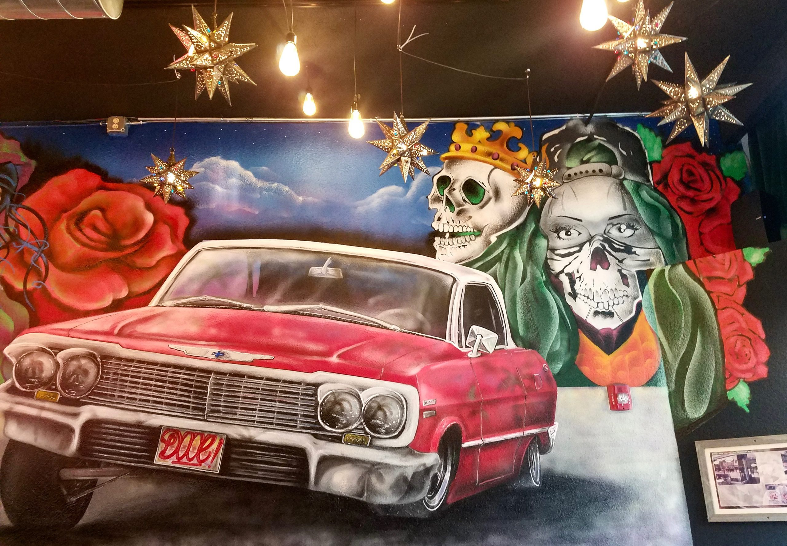 Apocalypse Not! This is taco art, adorning the wall at Doce Taqueria, a suggested spot for low-cost dining. (photo: Rick Handler)