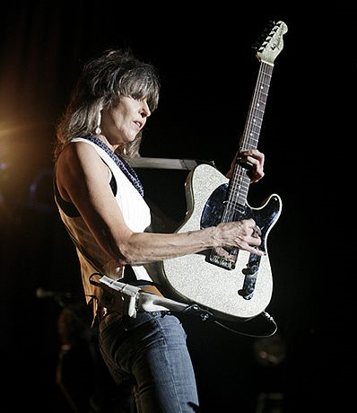 Ohio native Chrissie Hynde jamming on her Telecaster in 2013. photo: Harmony Gerber and Wikipedia.