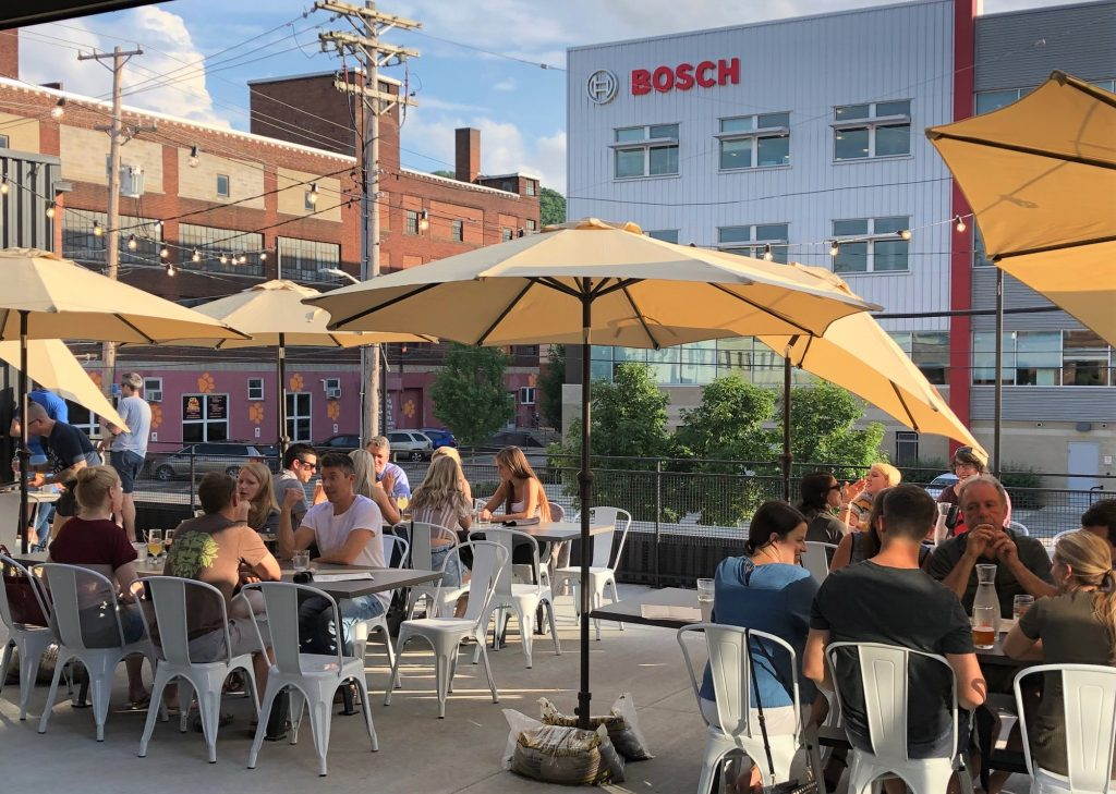 The second floor patio offers outdoor dining during temperate Pittsburgh days and nights.