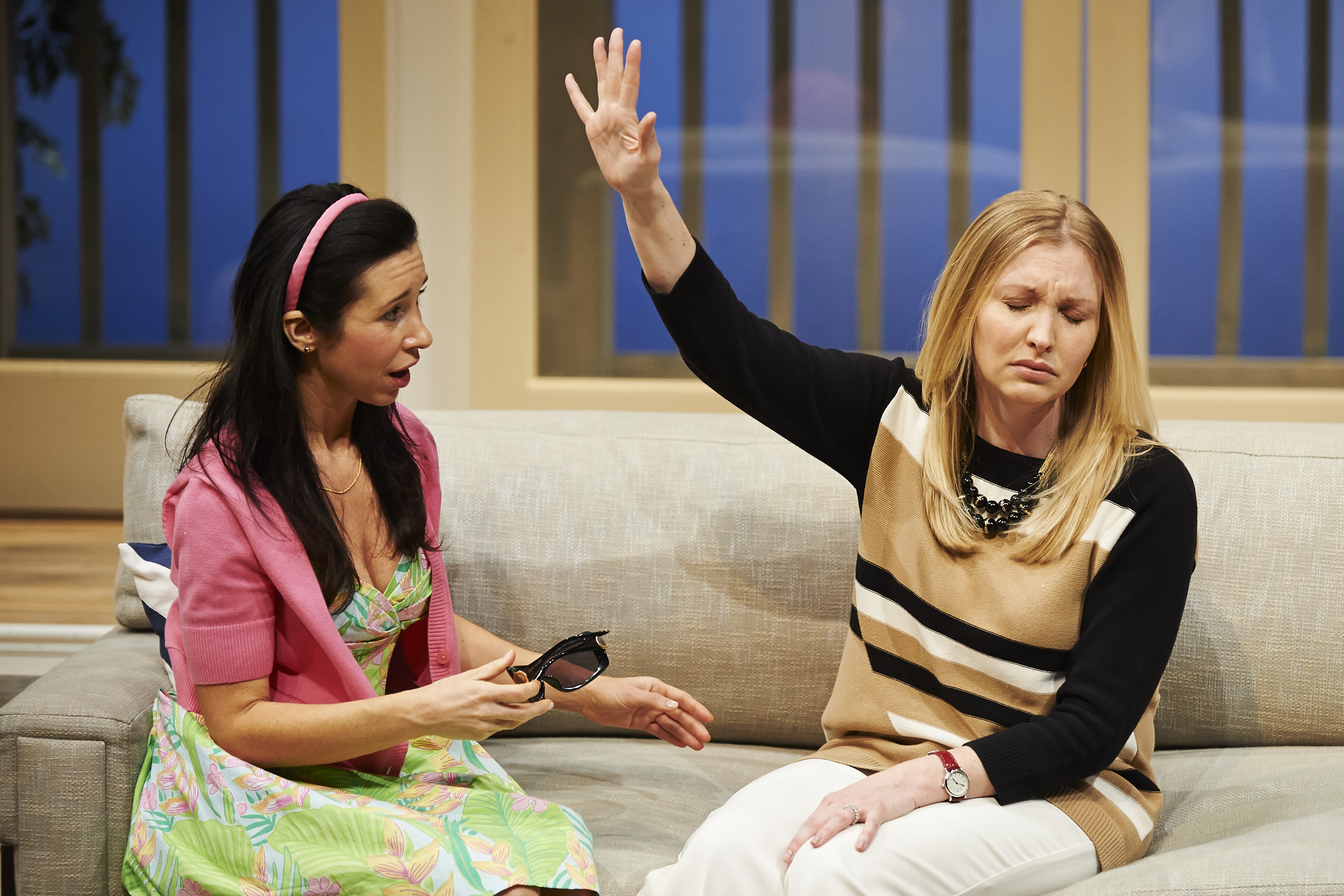 When Simone (Robin Abramson, L) takes a job as personal assistant to super-wealthy Michaela (Kimberly Parker Green), she must assist with some very personal affairs.