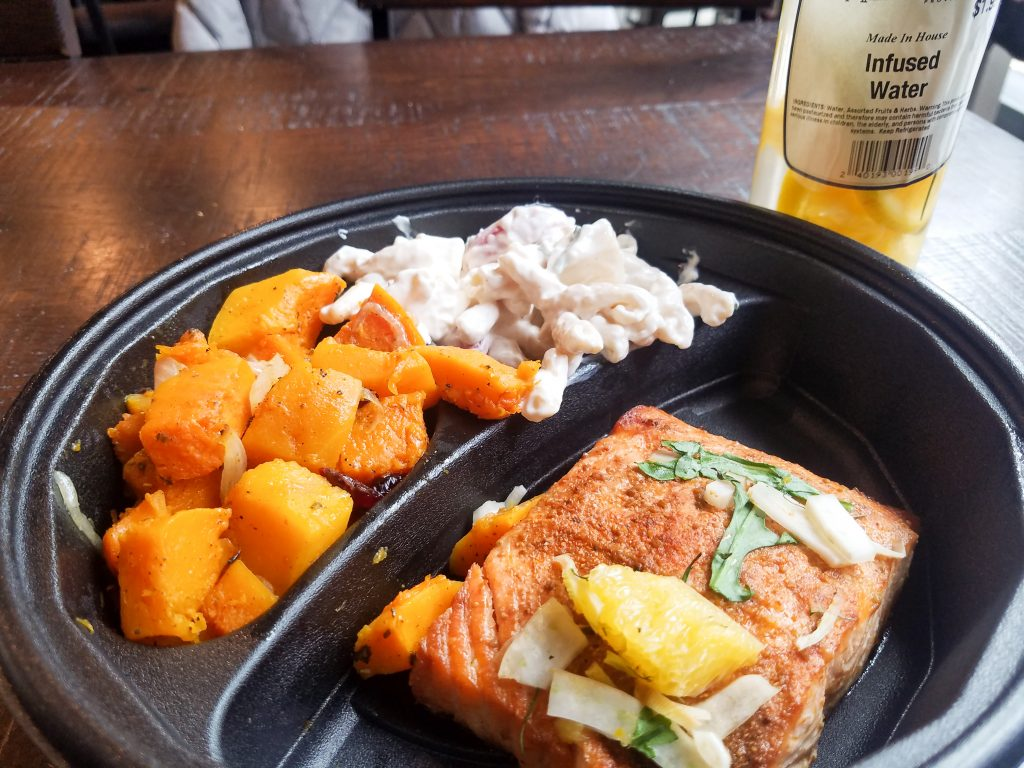 Orange fennel salmon, sage butternut squash, and smoked Gouda pasta salad.