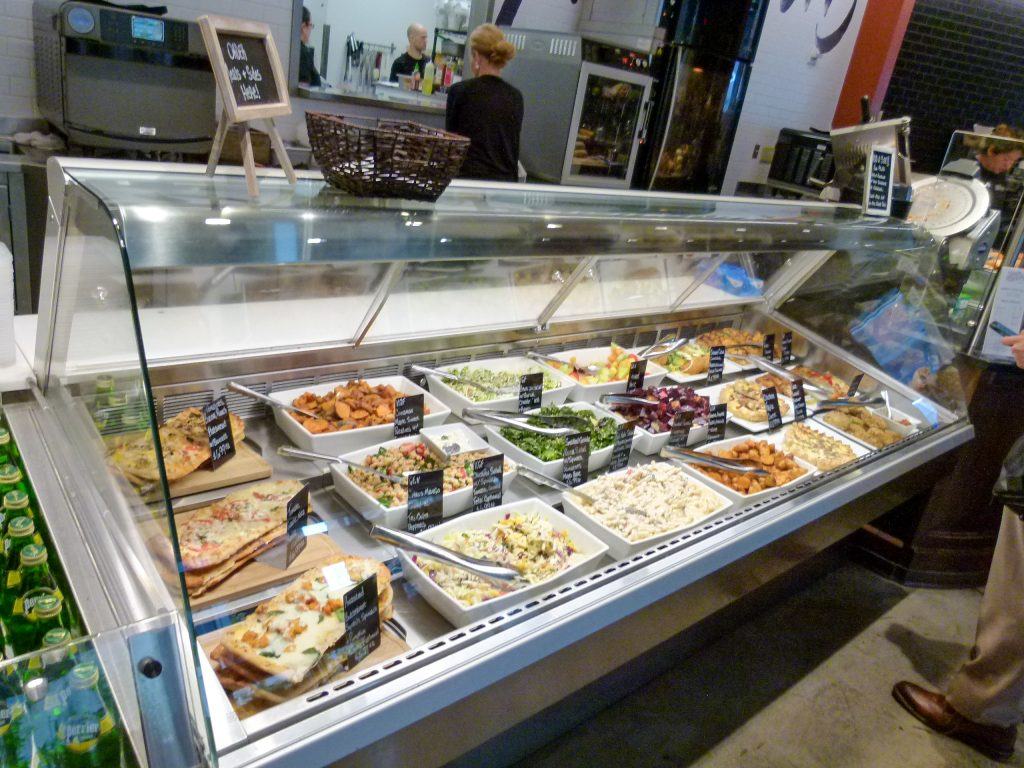 The prepared foods display case.