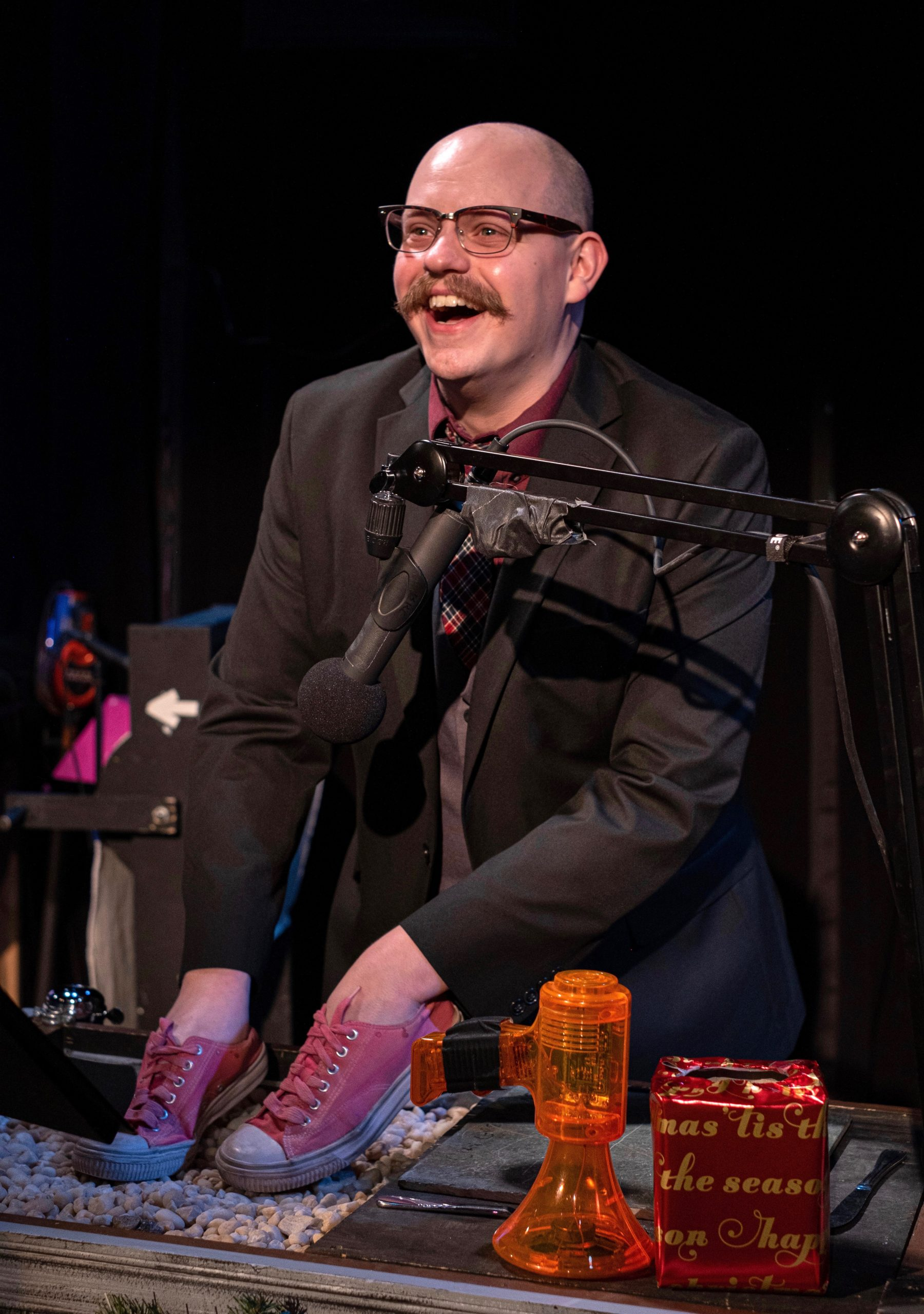 'Yinzer Scrooged' is presented in the format of a live radio play, which means that Tiny Tony's tiny footsteps are done thusly by Connor McCanlus.