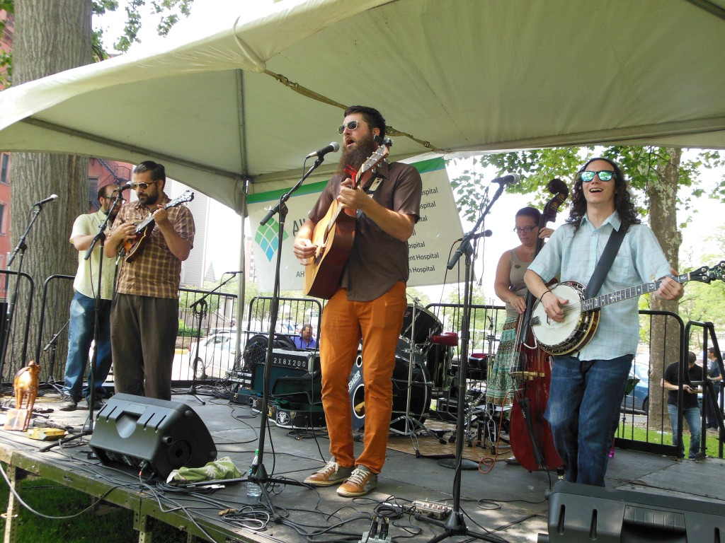 Members of The Shelf Life String Band bring bluegrass to the Deutschtown Music Festival.