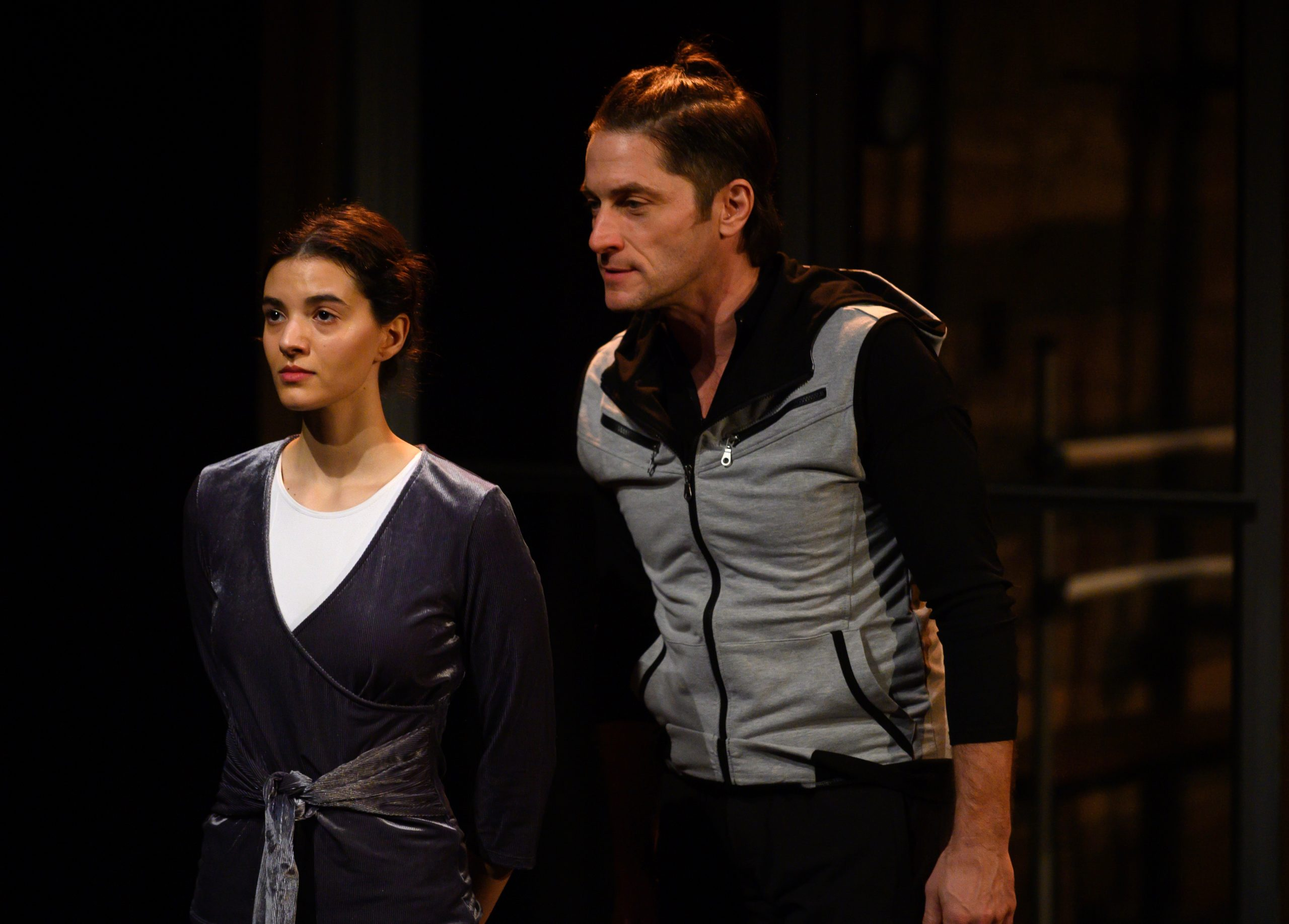 Amina (Liron Blumenthal) is a rising star but Pat (David Conrad) warns her she's only one in a galaxy of them. (photo: Jeff Swensen)
