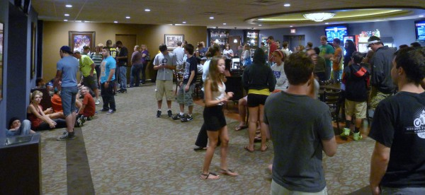 Dark Night Crises crowded lobby photo