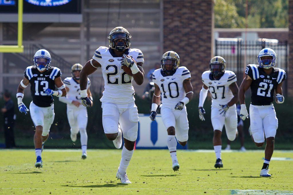 Pitt Panthers running back Darrin Hall runs to daylight in last year's game against the Duke Blue Devils. Photo: Jeffrey Gamza/Pitt Athletics.