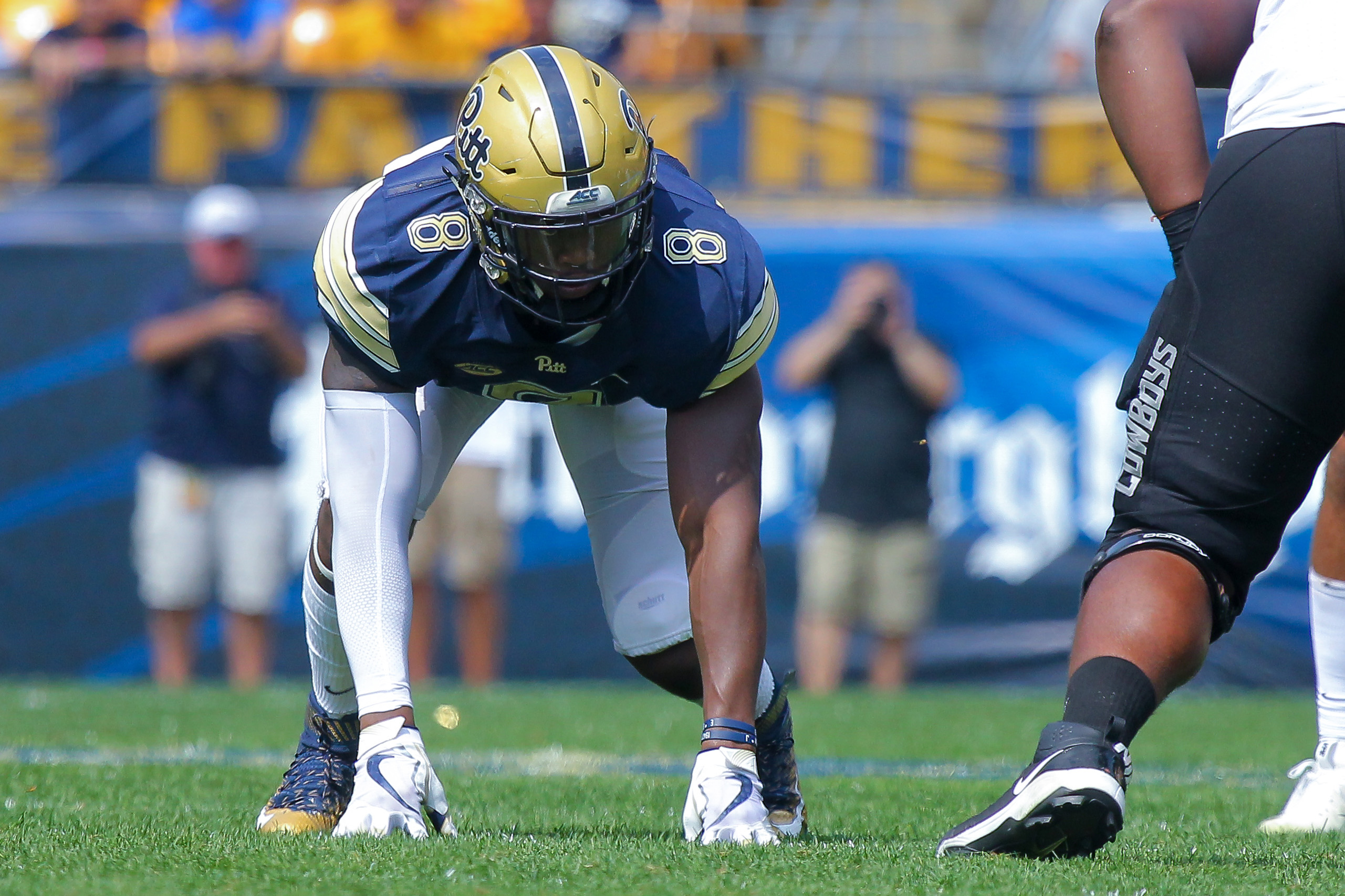 Pitt Panthers defensive lineman Dewayne Hendrix is in the ready position for the 2018 season and to get after opposing quarterbacks. Photo: Jeffrey Gamza/Pitt Athletics.